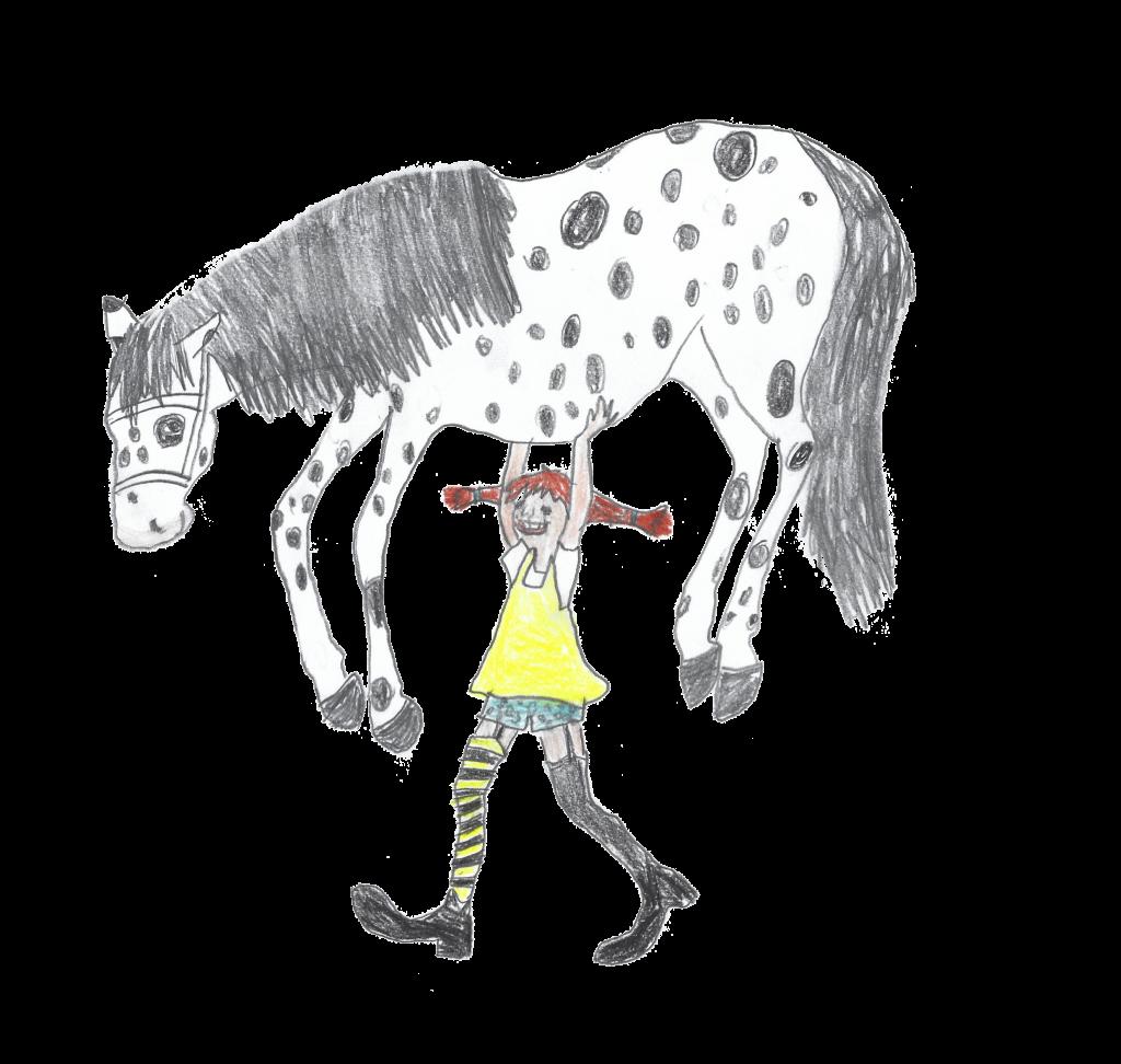 Illustration von Pipi Langstrumpf, die ein Pferd über ihrem Kopf trägt