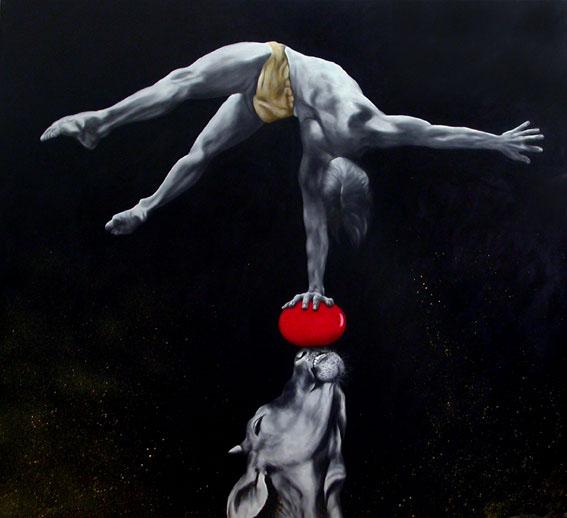 in Öl gemalte Kuhschnauze, die einen roten Ball balanciert, auf dem ein Akrobat einen einarmigen Handstand macht